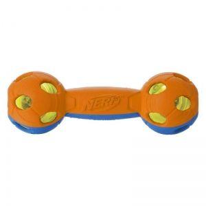 Игрушка для собак Nerf Гантель светящаяся двухцветная 17,5см